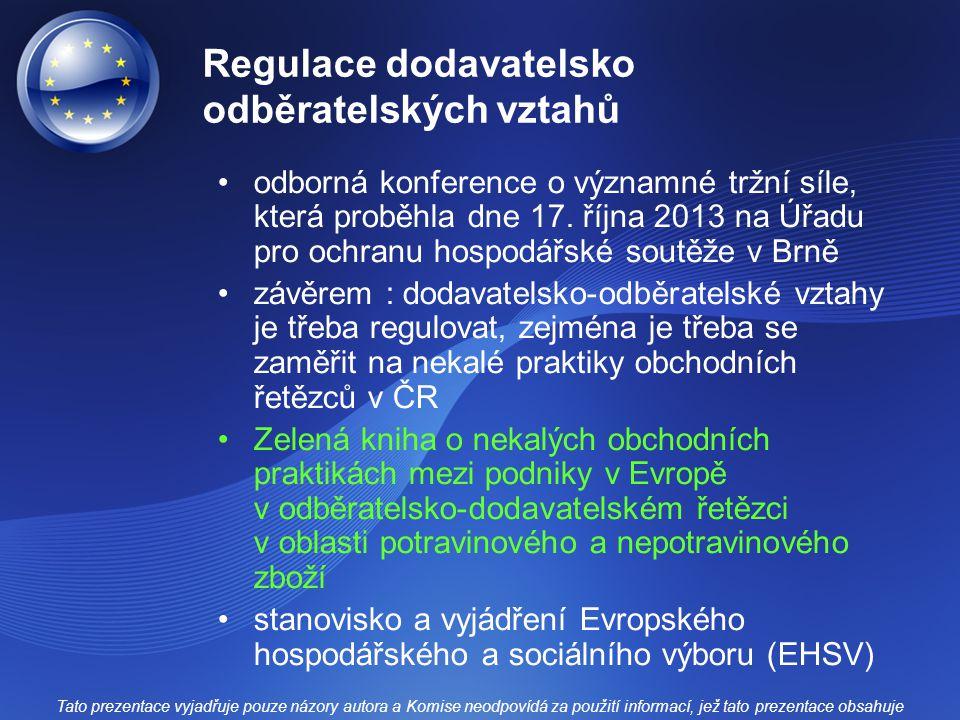 Regulace dodavatelsko odběratelských vztahů