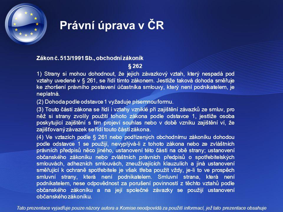 Právní úprava v ČR
