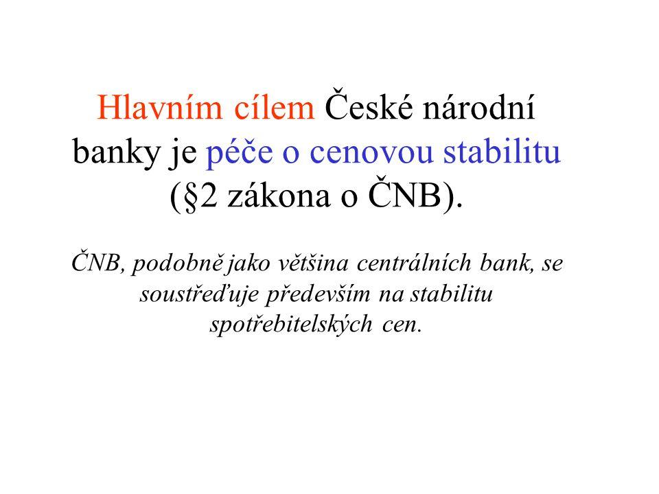 Hlavním cílem České národní banky je péče o cenovou stabilitu (§2 zákona o ČNB).