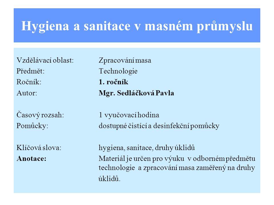 Hygiena a sanitace v masném průmyslu