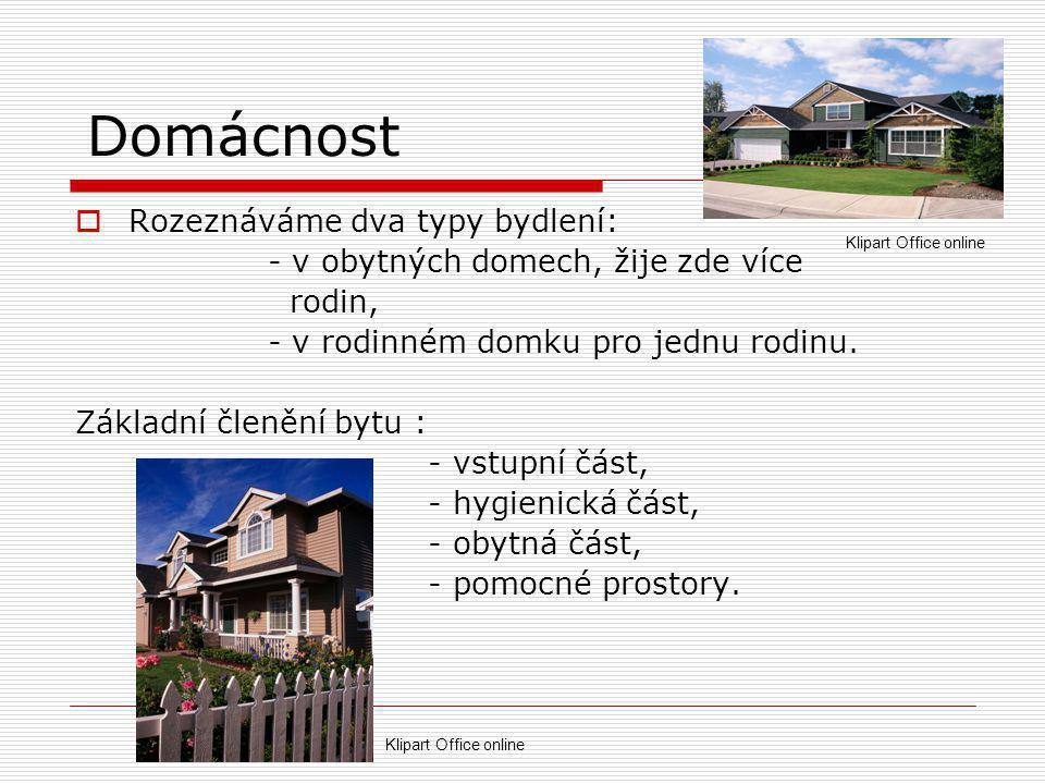 Domácnost Rozeznáváme dva typy bydlení: