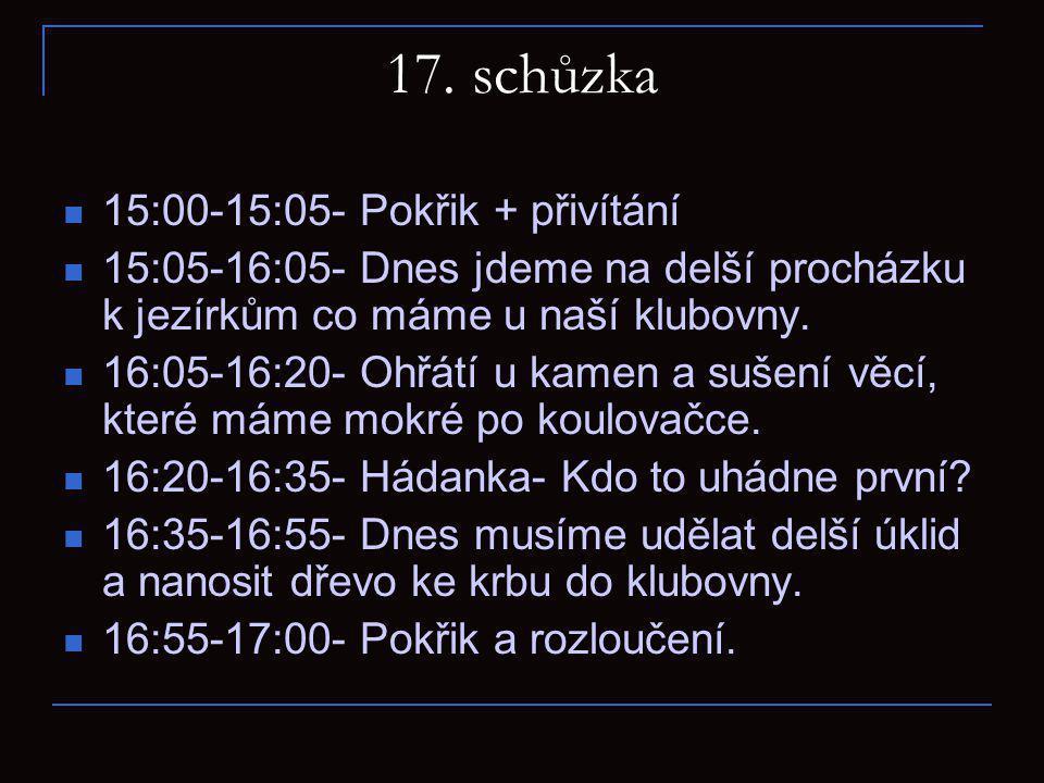 17. schůzka 15:00-15:05- Pokřik + přivítání