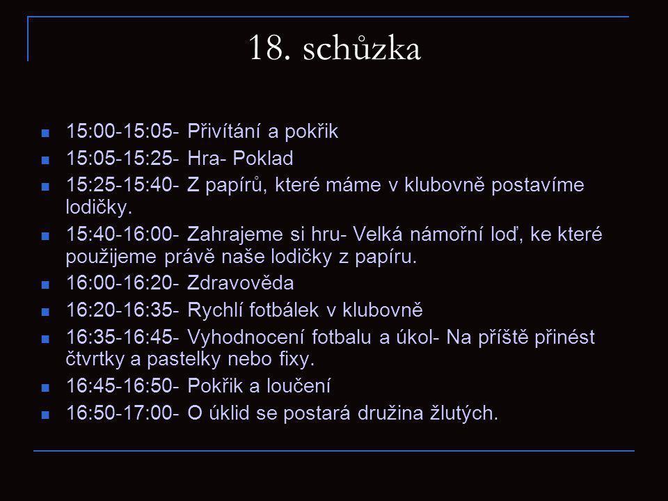 18. schůzka 15:00-15:05- Přivítání a pokřik 15:05-15:25- Hra- Poklad