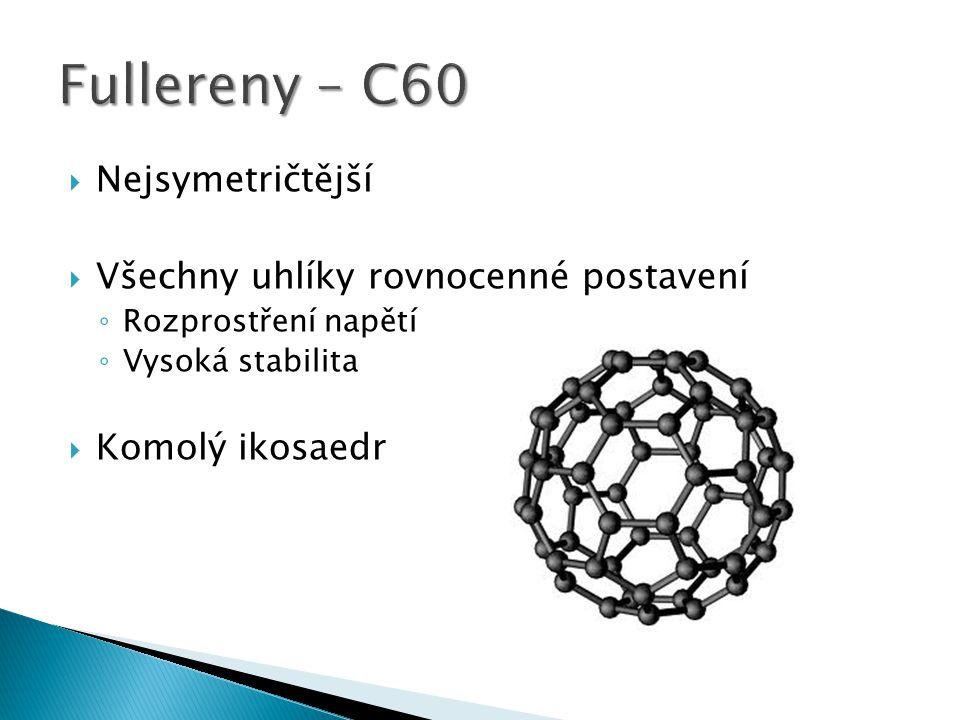 Fullereny – C60 Nejsymetričtější Všechny uhlíky rovnocenné postavení