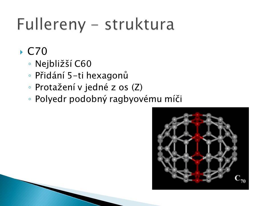 Fullereny - struktura C70 Nejbližší C60 Přidání 5-ti hexagonů