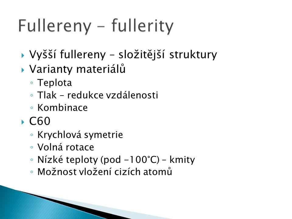 Fullereny - fullerity Vyšší fullereny – složitější struktury