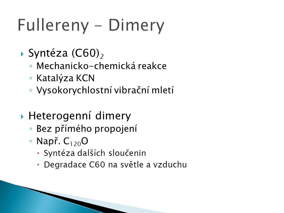 Fullereny - Dimery Syntéza (C60)2 Heterogenní dimery