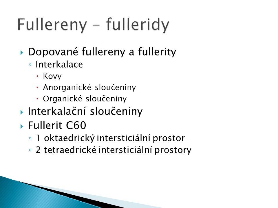 Fullereny - fulleridy Dopované fullereny a fullerity