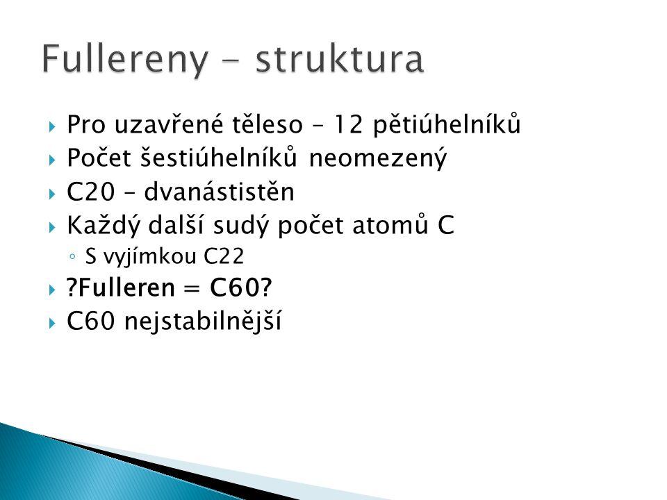 Fullereny - struktura Pro uzavřené těleso – 12 pětiúhelníků
