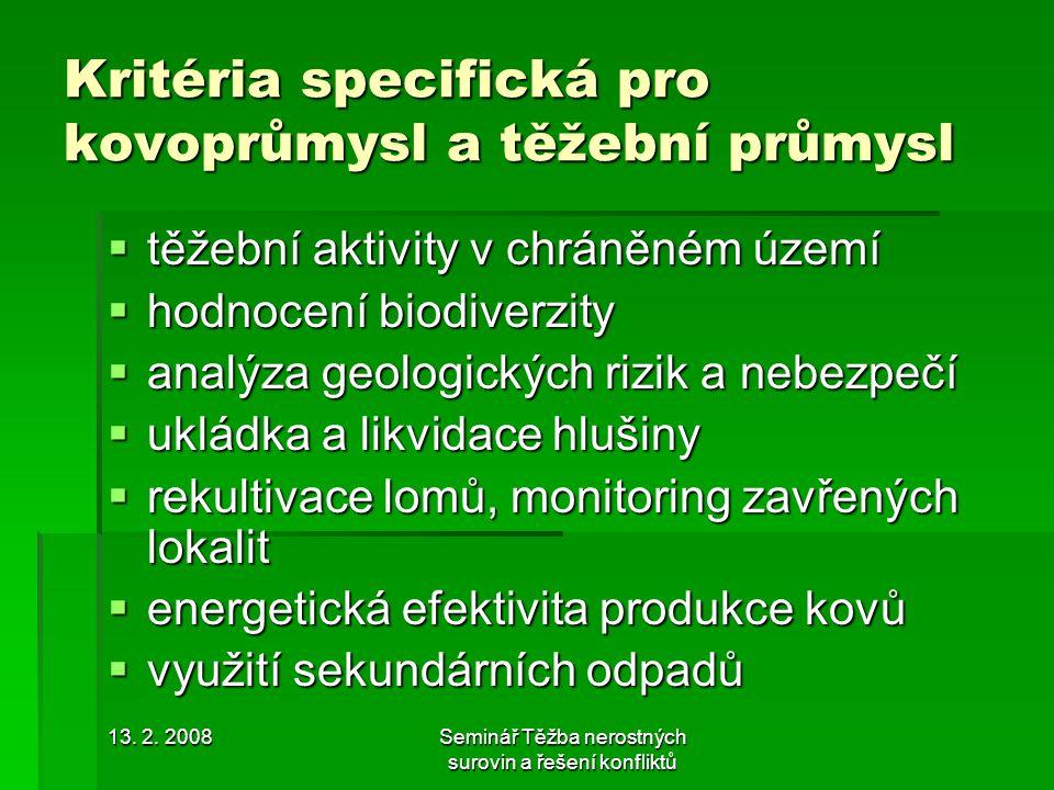 Kritéria specifická pro kovoprůmysl a těžební průmysl