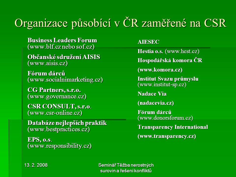 Organizace působící v ČR zaměřené na CSR