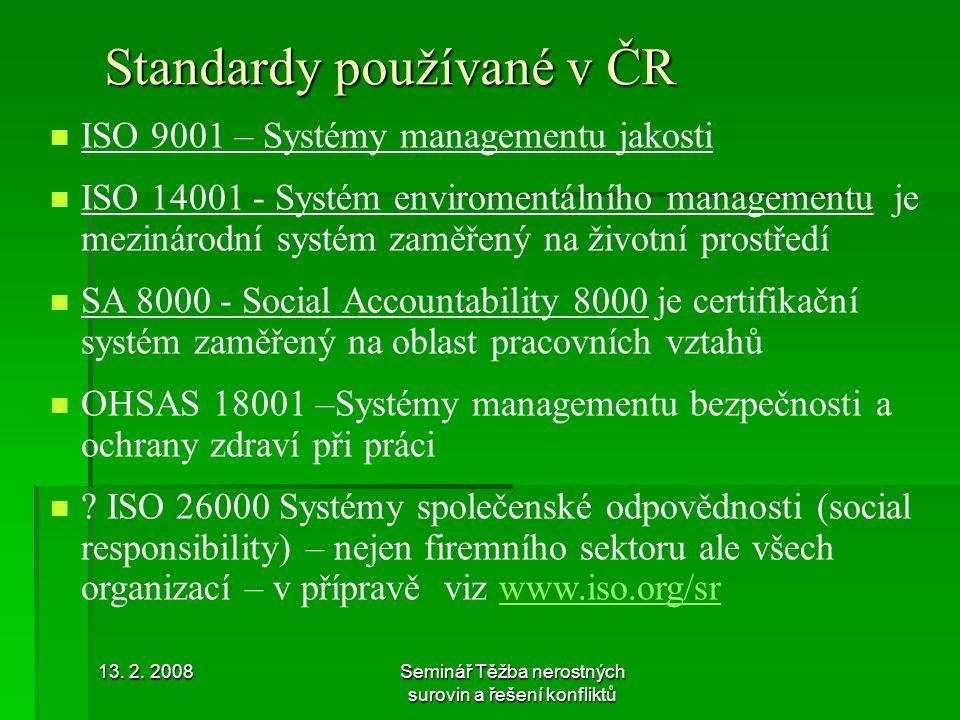 Standardy používané v ČR