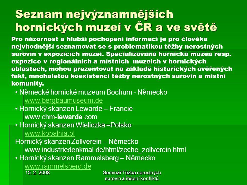 Seznam nejvýznamnějších hornických muzeí v ČR a ve světě