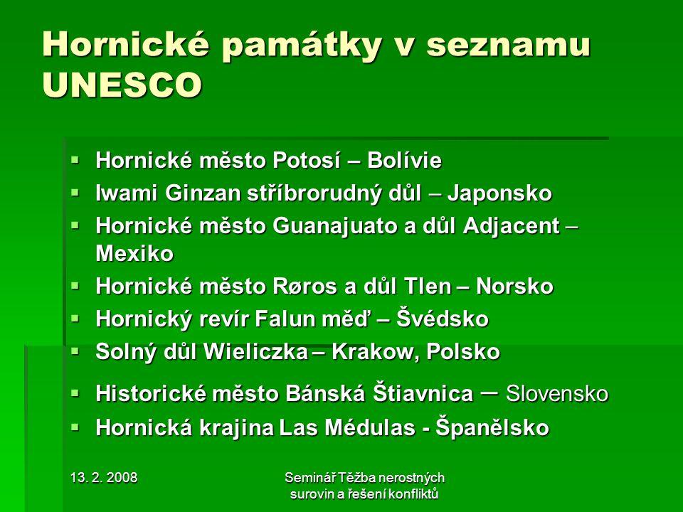 Hornické památky v seznamu UNESCO