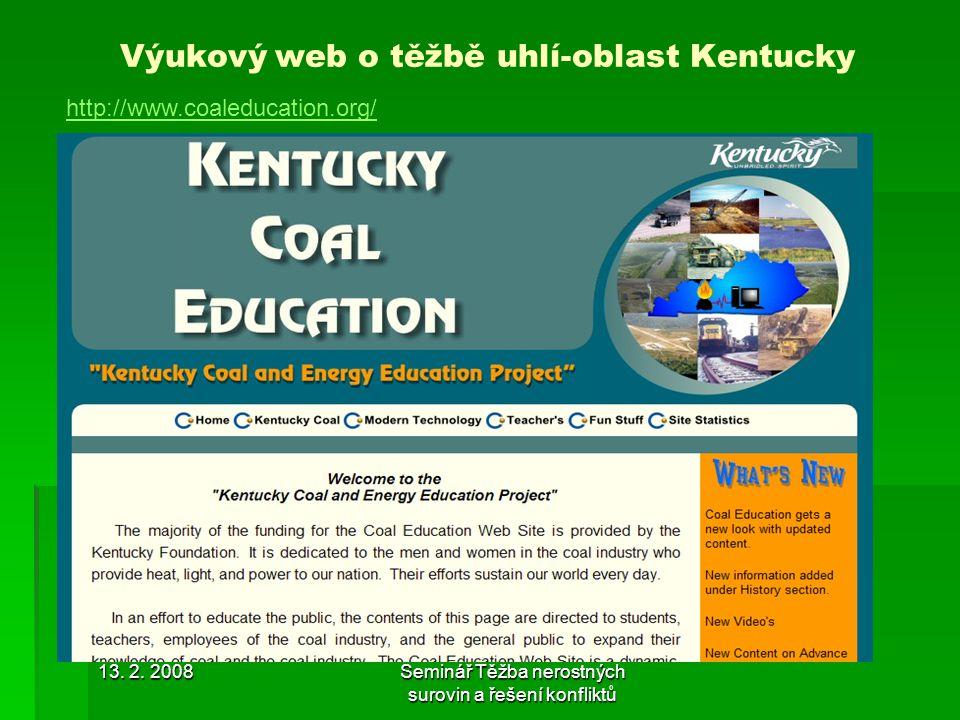Výukový web o těžbě uhlí-oblast Kentucky