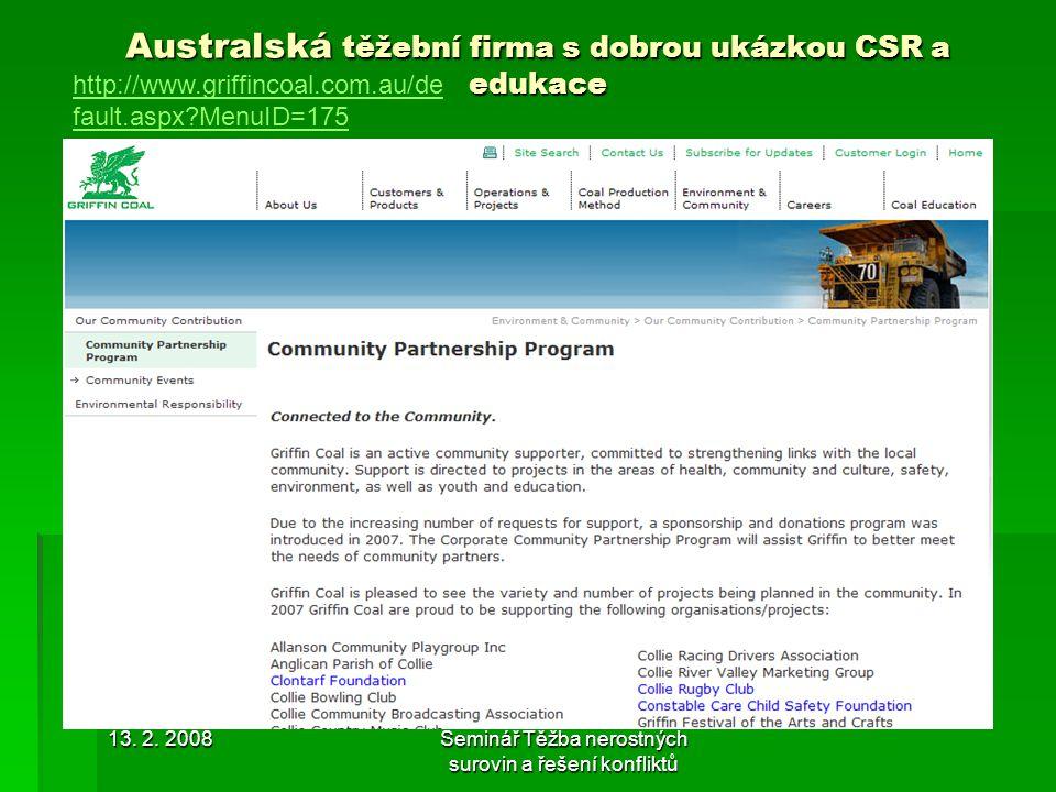 Australská těžební firma s dobrou ukázkou CSR a edukace