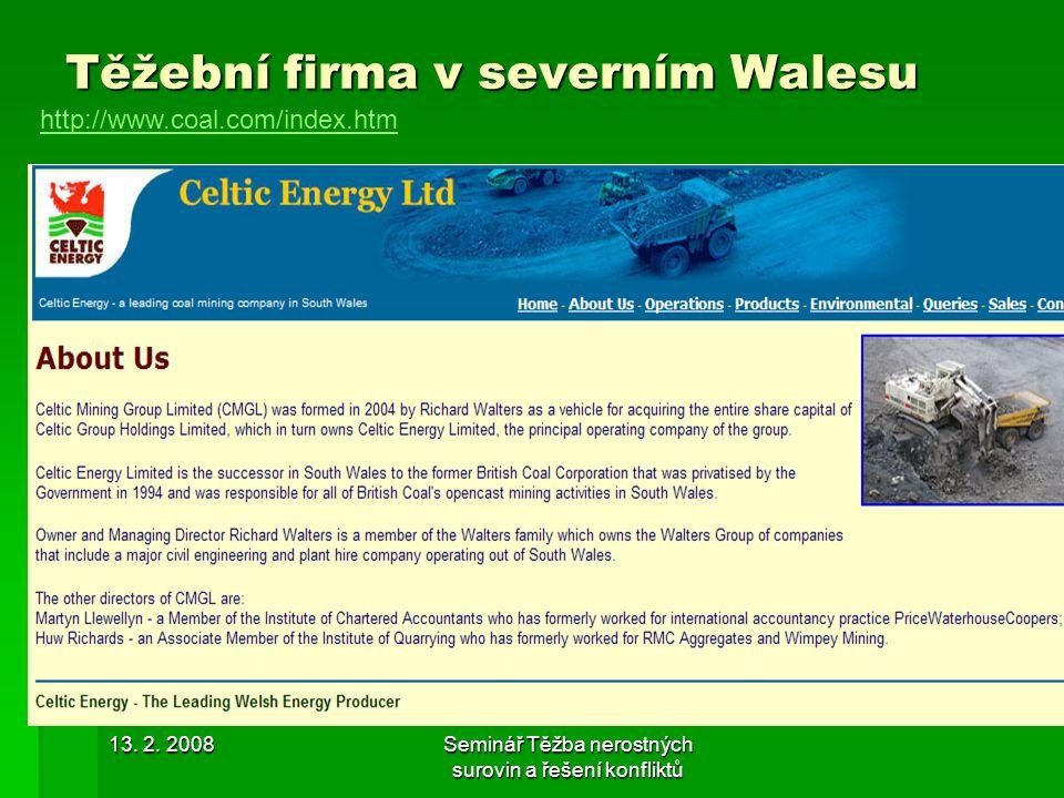 Těžební firma v severním Walesu