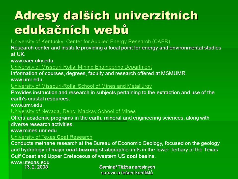 Adresy dalších univerzitních edukačních webů