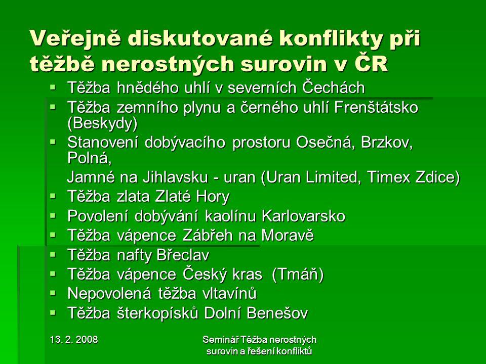 Veřejně diskutované konflikty při těžbě nerostných surovin v ČR