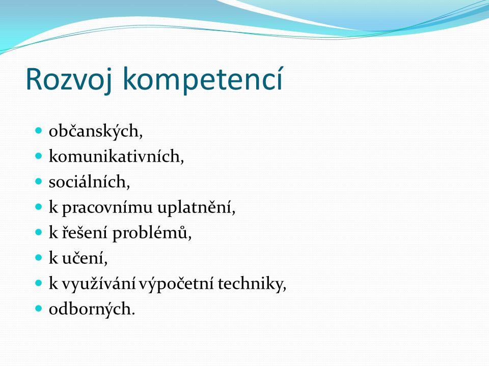 Rozvoj kompetencí občanských, komunikativních, sociálních,