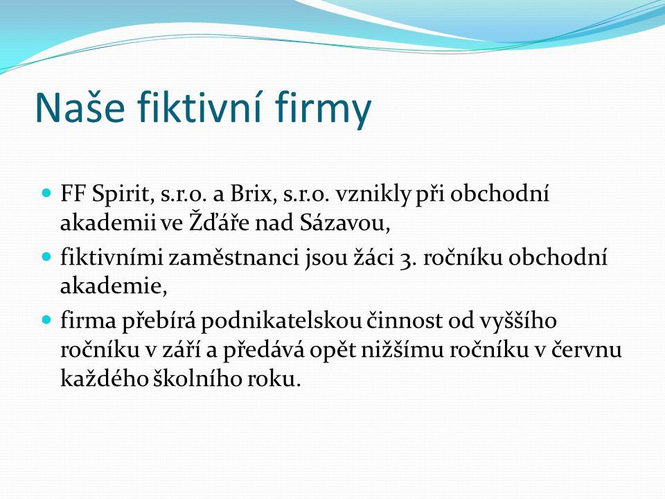 Naše fiktivní firmy FF Spirit, s.r.o. a Brix, s.r.o. vznikly při obchodní akademii ve Žďáře nad Sázavou,