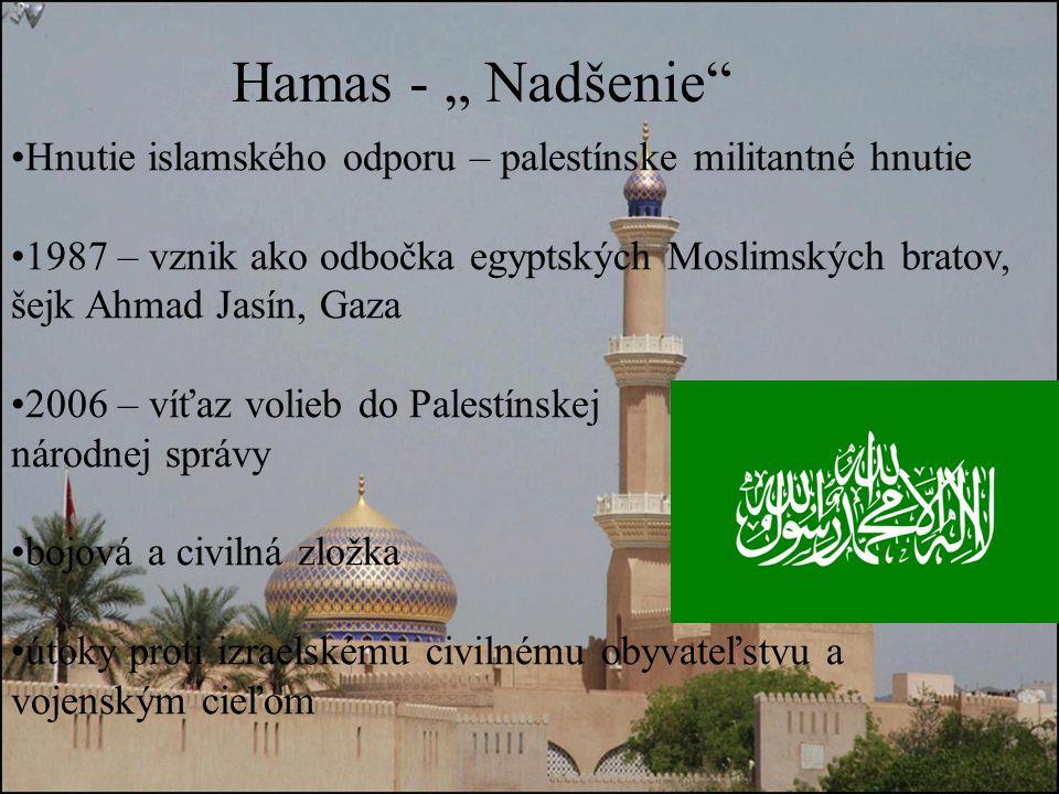 """Hamas - """" Nadšenie Hnutie islamského odporu – palestínske militantné hnutie."""