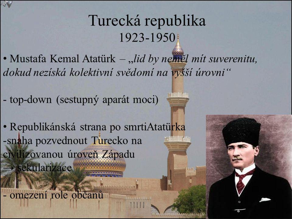 """Turecká republika 1923-1950. Mustafa Kemal Atatürk – """"lid by neměl mít suverenitu, dokud nezíská kolektivní svědomí na vyšší úrovni"""