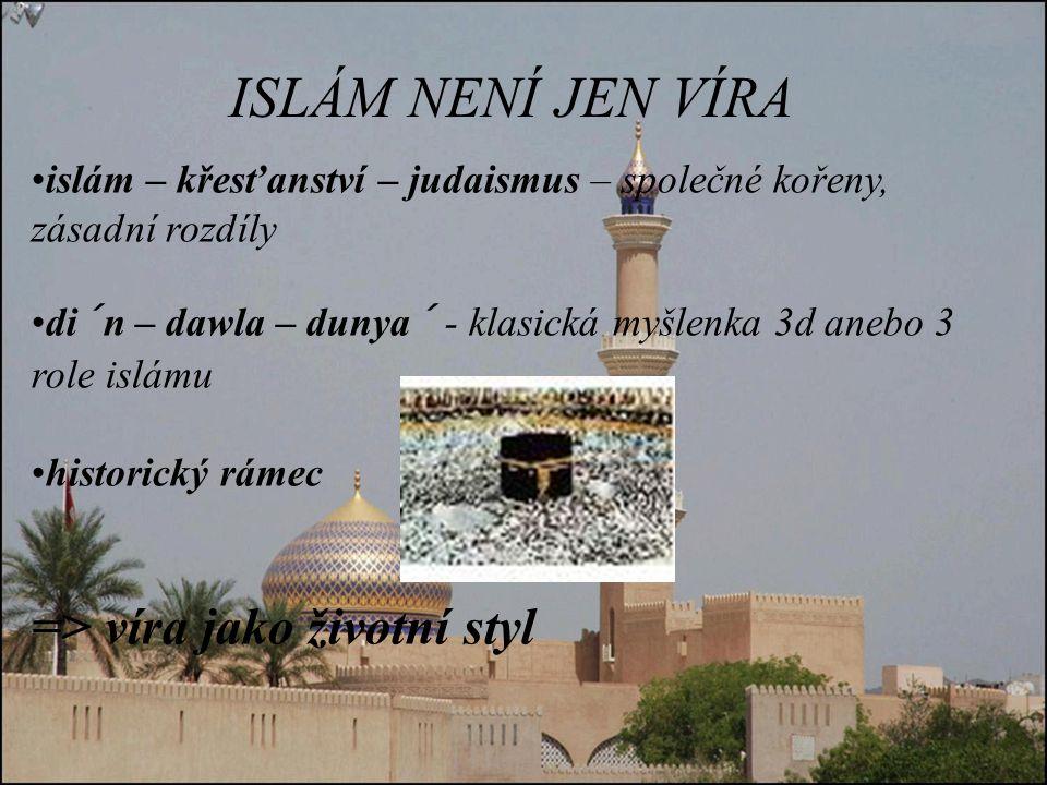 ISLÁM NENÍ JEN VÍRA => víra jako životní styl