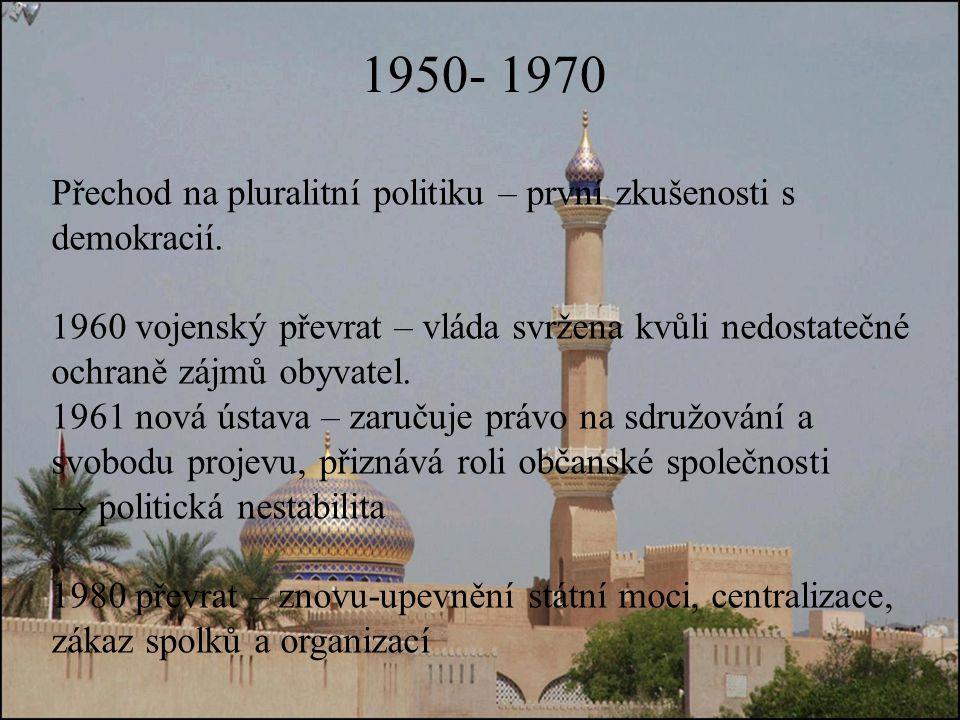 1950- 1970 Přechod na pluralitní politiku – první zkušenosti s demokracií.