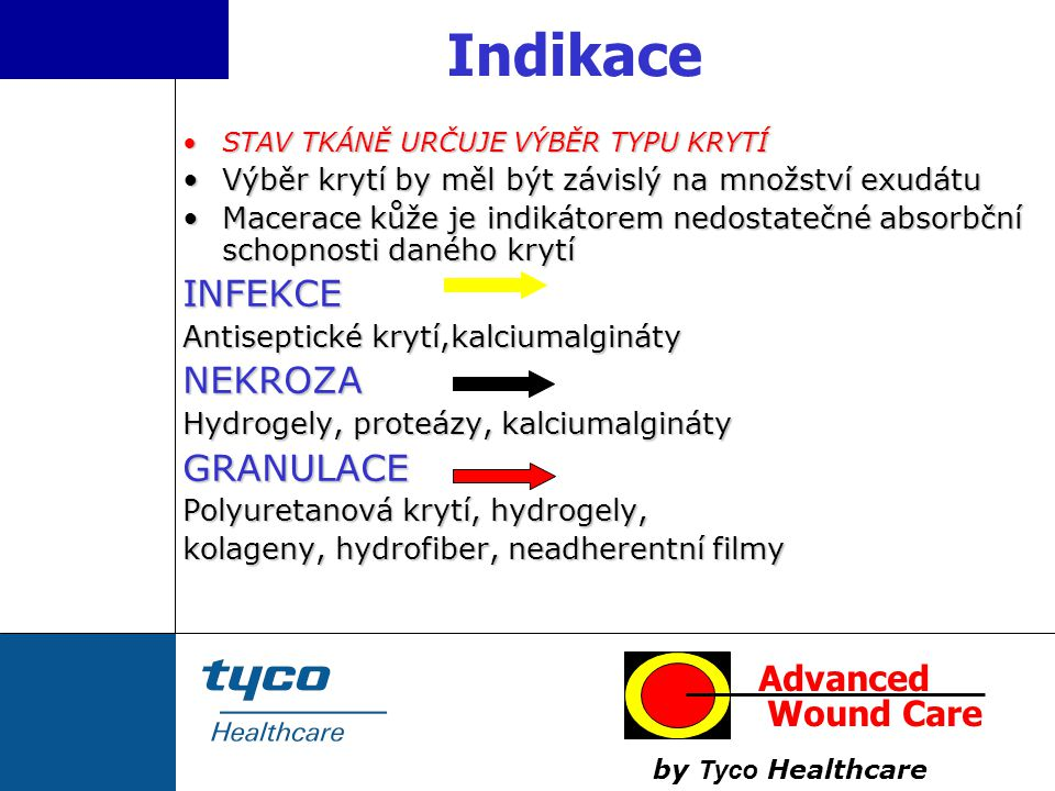 Indikace INFEKCE NEKROZA GRANULACE Advanced Wound Care