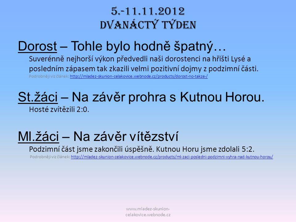 St.žáci – Na závěr prohra s Kutnou Horou. Hosté zvítězili 2:0.