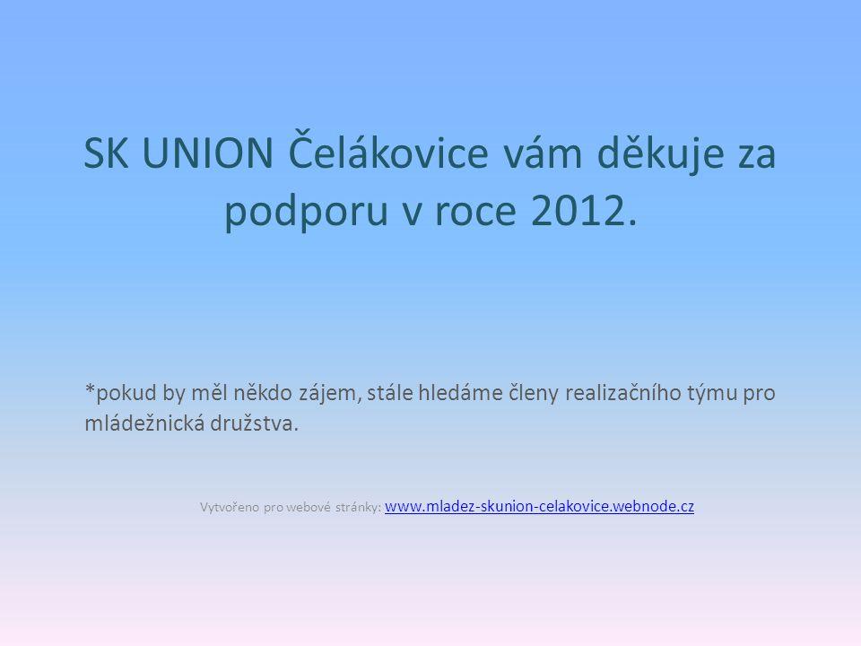 SK UNION Čelákovice vám děkuje za podporu v roce 2012.