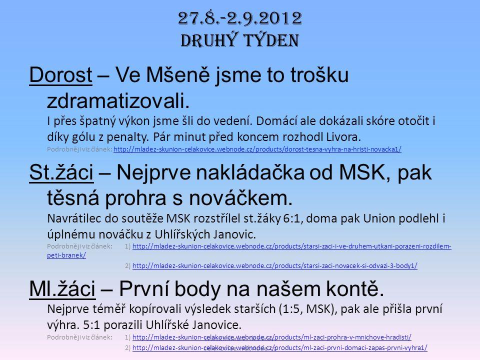 27.8.-2.9.2012 DRUHÝ TÝDEN