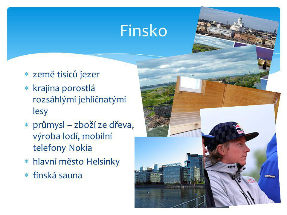 Finsko země tisíců jezer krajina porostlá rozsáhlými jehličnatými lesy