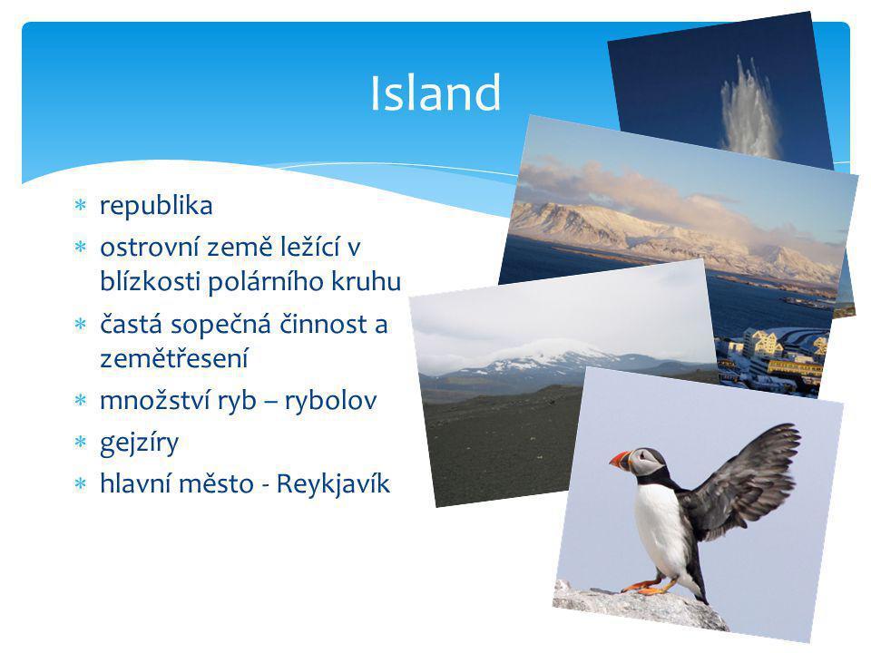 Island republika ostrovní země ležící v blízkosti polárního kruhu
