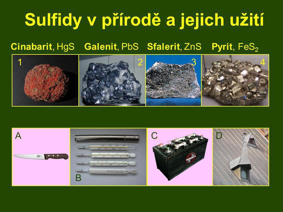 Sulfidy v přírodě a jejich užití