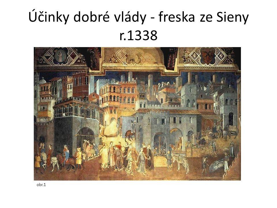 Účinky dobré vlády - freska ze Sieny r.1338