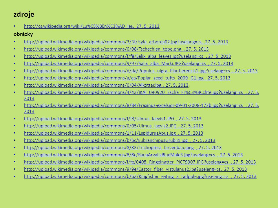 zdroje http://cs.wikipedia.org/wiki/Lu%C5%BEn%C3%AD_les, 27. 5. 2013. obrázky.