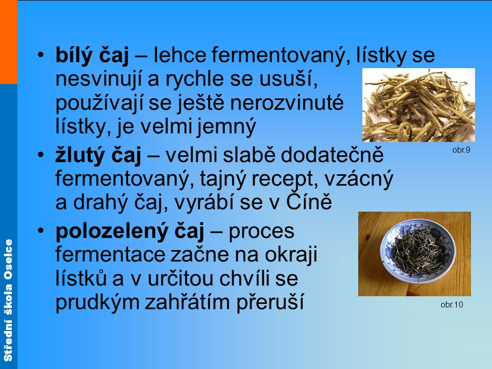 bílý čaj – lehce fermentovaný, lístky se nesvinují a rychle se usuší, používají se ještě nerozvinuté lístky, je velmi jemný