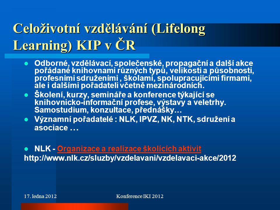 Celoživotní vzdělávání (Lifelong Learning) KIP v ČR