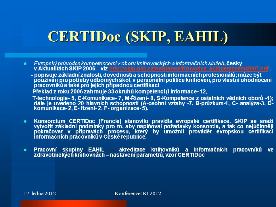 CERTIDoc (SKIP, EAHIL)