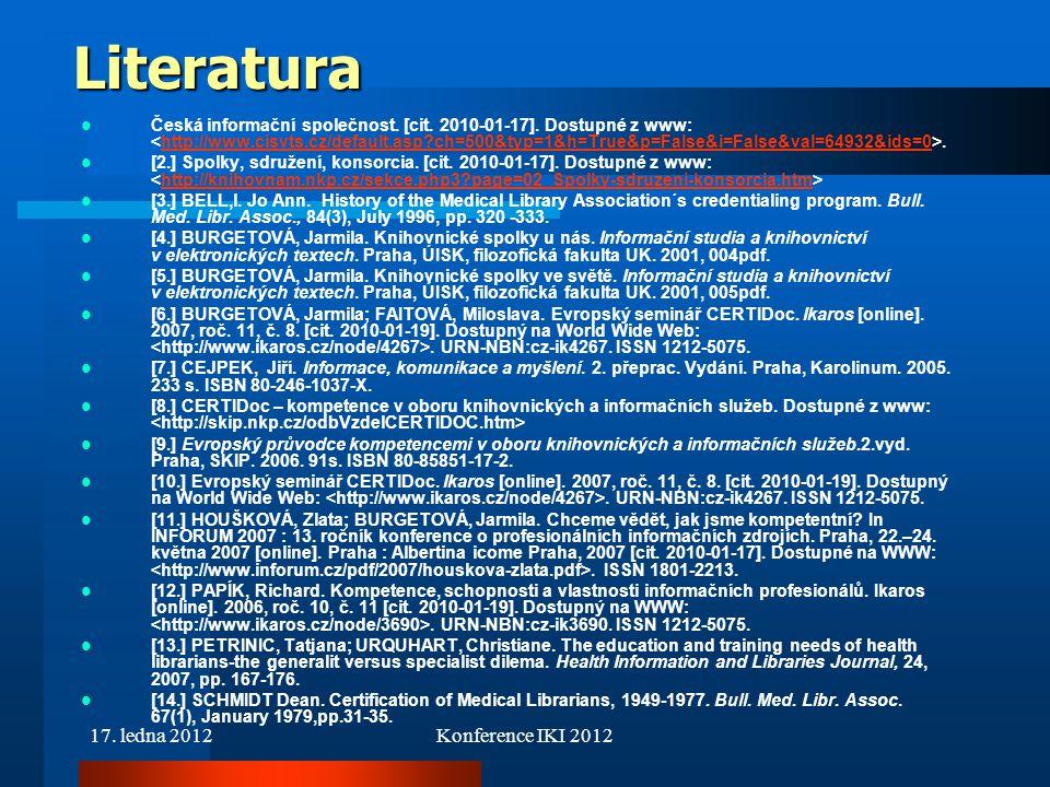 Literatura 17. ledna 2012 Konference IKI 2012