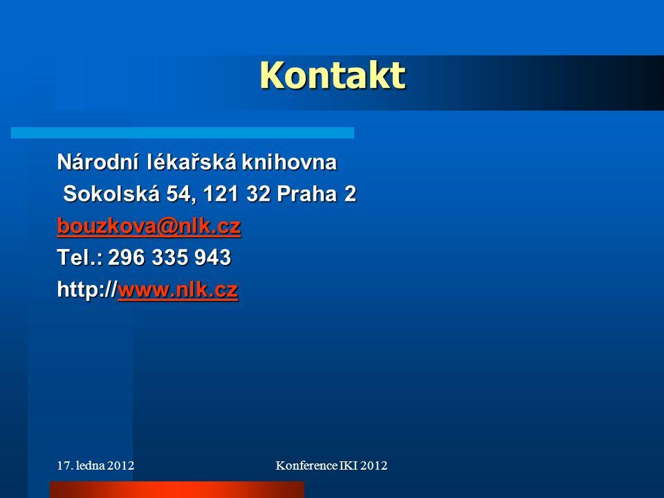 Kontakt Národní lékařská knihovna Sokolská 54, 121 32 Praha 2