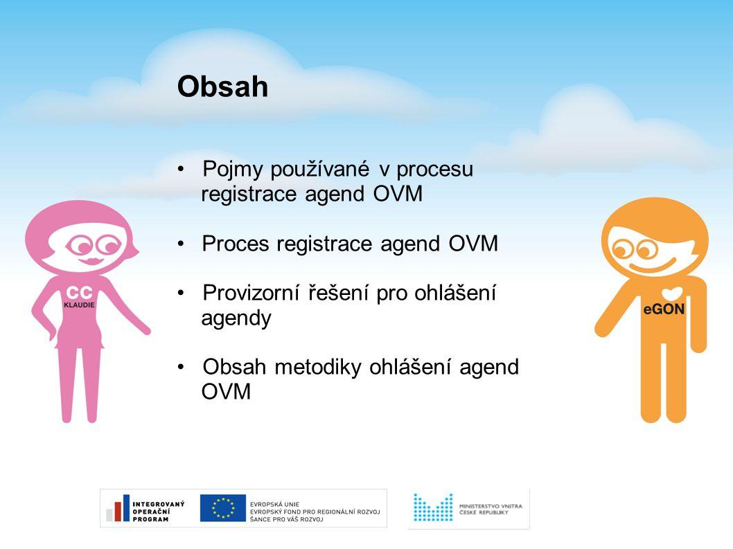 Obsah Pojmy používané v procesu registrace agend OVM