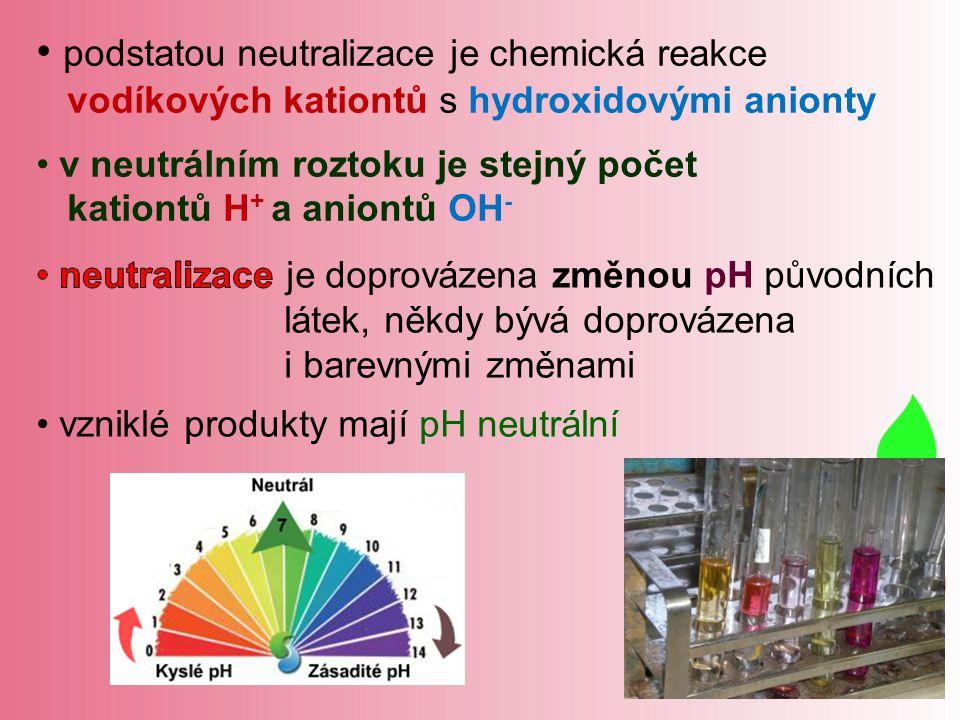 podstatou neutralizace je chemická reakce