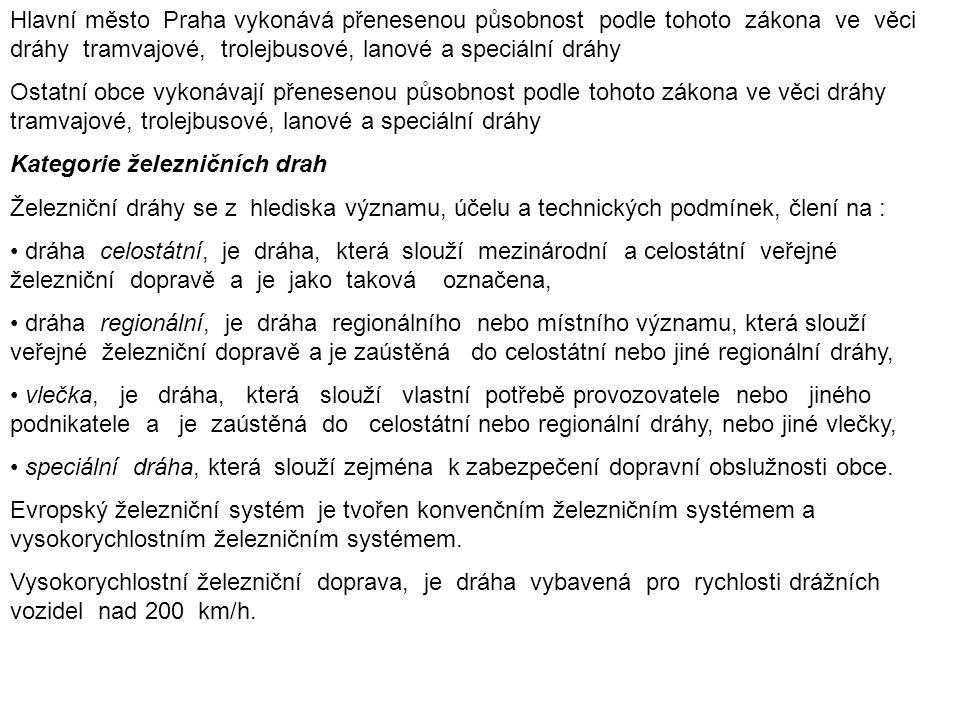 Hlavní město Praha vykonává přenesenou působnost podle tohoto zákona ve věci dráhy tramvajové, trolejbusové, lanové a speciální dráhy