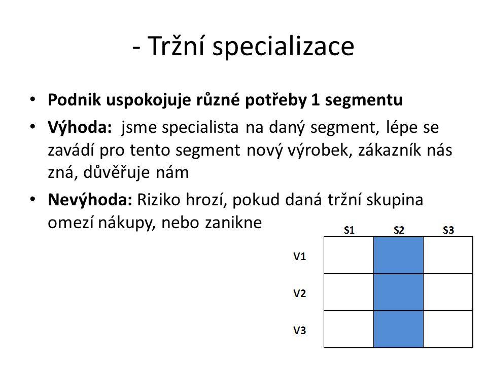 - Tržní specializace Podnik uspokojuje různé potřeby 1 segmentu