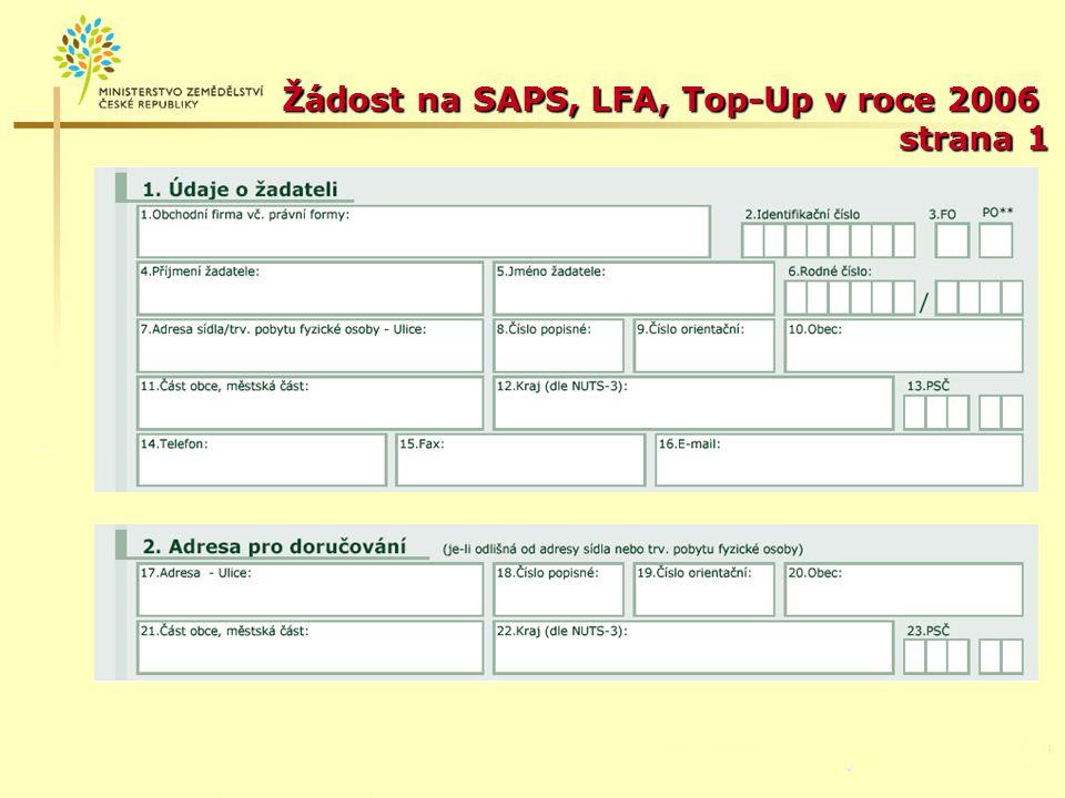 Žádost na SAPS, LFA, Top-Up v roce 2006 strana 1