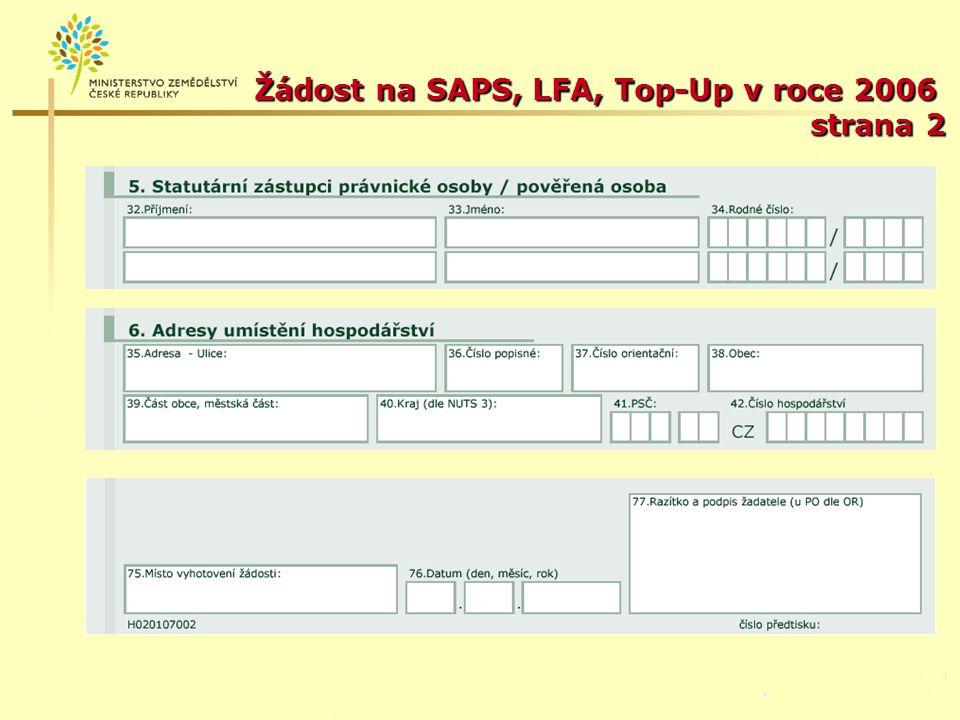 Žádost na SAPS, LFA, Top-Up v roce 2006 strana 2