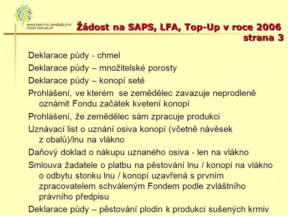 Žádost na SAPS, LFA, Top-Up v roce 2006 strana 3